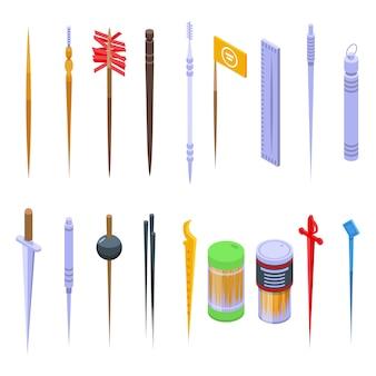 Conjunto de iconos de palillo de dientes. conjunto isométrico de iconos de vector de palillo de dientes para diseño web aislado en espacio en blanco