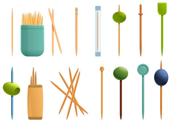 Conjunto de iconos de palillo de dientes, estilo de dibujos animados