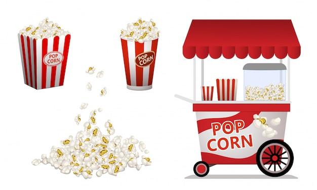 Conjunto de iconos de palomitas de maíz, estilo de dibujos animados