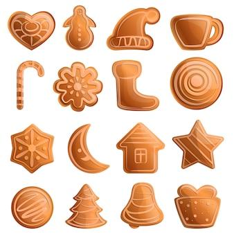 Conjunto de iconos de pan de jengibre