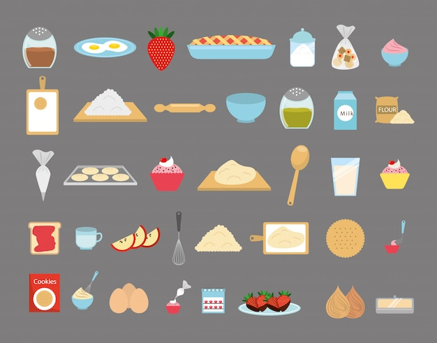 Conjunto de iconos de panadería dulce