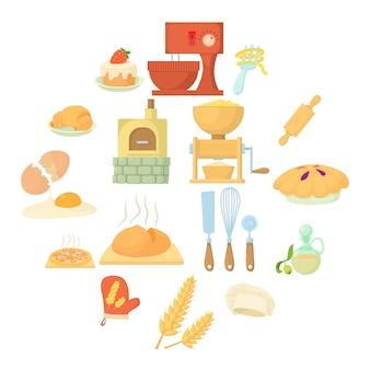 Conjunto de iconos de panadería, estilo de dibujos animados