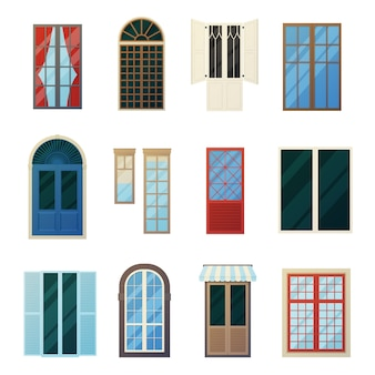 Conjunto de iconos de paneles de ventana de barras muntin