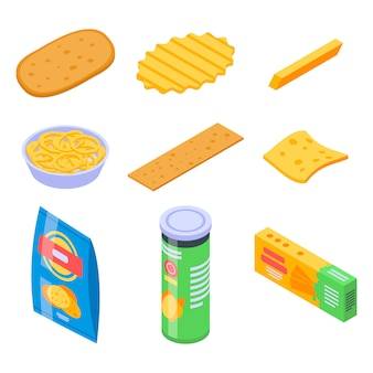 Conjunto de iconos de papas fritas, estilo isométrico