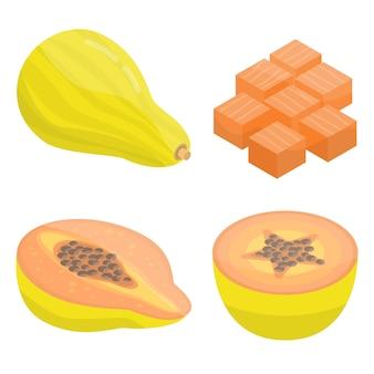 Conjunto de iconos de papaya, estilo isométrico