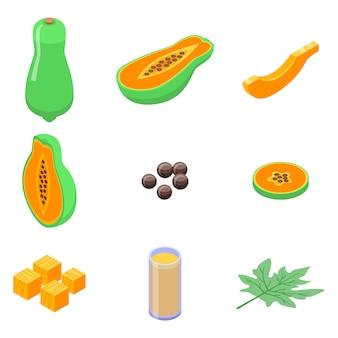 Conjunto de iconos de papaya