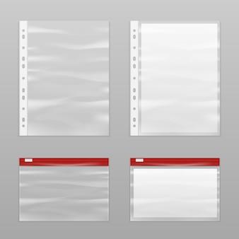 Conjunto de iconos de papel lleno y bolsas de plástico vacías