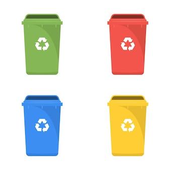 Conjunto de iconos de papelera de reciclaje de color aislado sobre fondo blanco.