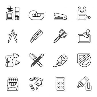 Conjunto de iconos de papelería de oficina. vector stock de estilo de línea.