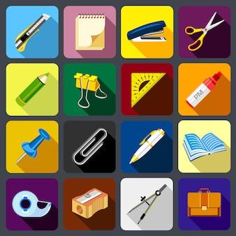 Conjunto de iconos de papelería.
