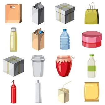 Conjunto de iconos de paquete contenedor, estilo de dibujos animados