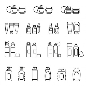 Conjunto de iconos de paquete de cosméticos