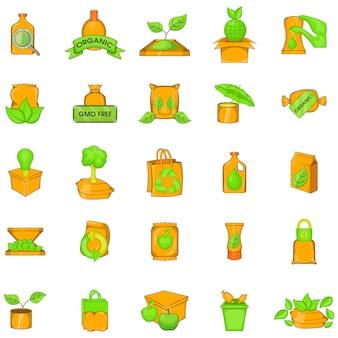 Conjunto de iconos de paquete verde, estilo de dibujos animados