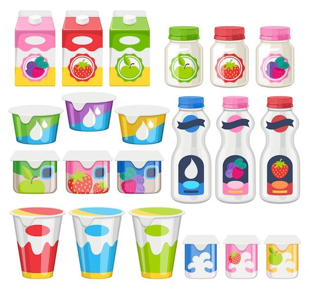 Conjunto de iconos de paquetes de yogur.