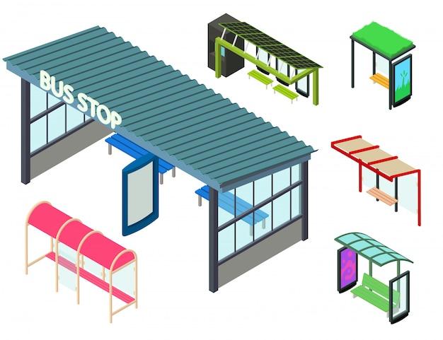 Conjunto de iconos de parada de autobús, estilo isométrico