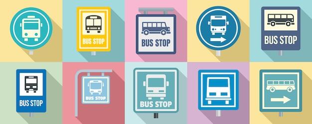 Conjunto de iconos de parada de autobús