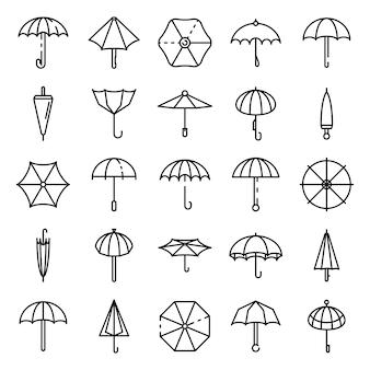 Conjunto de iconos de paraguas, estilo de contorno