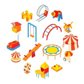 Conjunto de iconos de parque de atracciones, estilo de dibujos animados