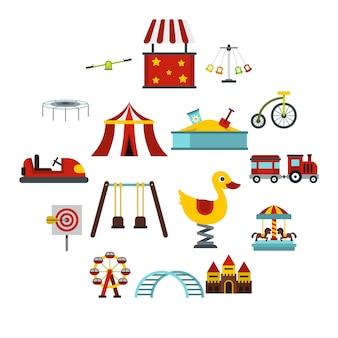 Conjunto de iconos de parque de atracciones, estilo plano