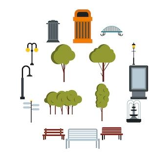 Conjunto de iconos de parque, estilo plano