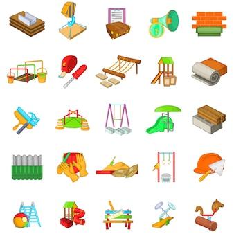 Conjunto de iconos de parque de reparación, estilo de dibujos animados