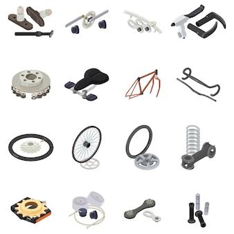 Conjunto de iconos de parte de bicicleta