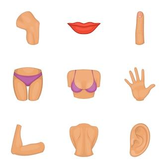 Conjunto de iconos de parte del cuerpo de las mujeres, estilo de dibujos animados