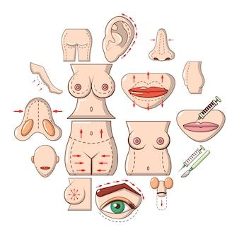 Conjunto de iconos de partes del cuerpo, estilo de dibujos animados