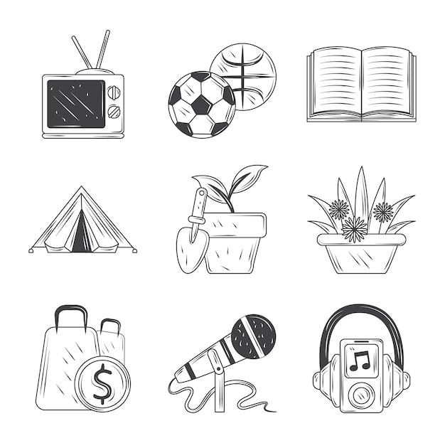 Conjunto de iconos de pasatiempos, deporte, televisión, música, jardinería de compras e ilustración de estilo de dibujo de lectura