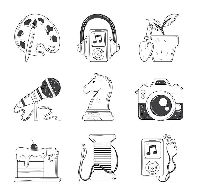 Conjunto de iconos de pasatiempos, ilustración de estilo de dibujo de postre de foto de música de pintura