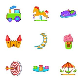 Conjunto de iconos de paseos, estilo de dibujos animados