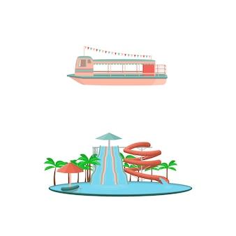 Conjunto de iconos de paseos del parque de atracciones de dibujos animados