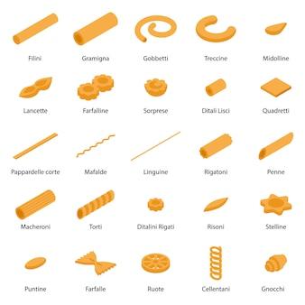 Conjunto de iconos de pasta fusilli, estilo isométrico