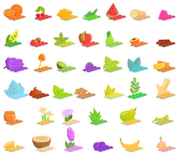 Conjunto de iconos de pastillas para la tos. conjunto de dibujos animados de iconos de pastillas para la tos