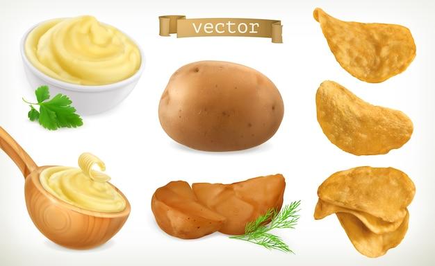 Conjunto de iconos de patatas, puré y patatas fritas