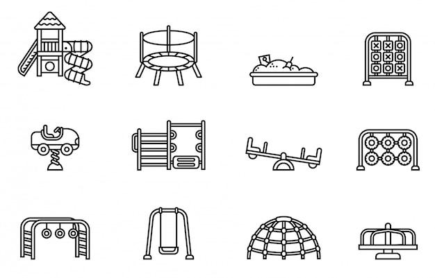 Conjunto de iconos de patio de recreo. vector de stock de estilo de línea delgada.