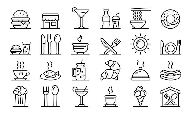 Conjunto de iconos de patios de comida, estilo de contorno