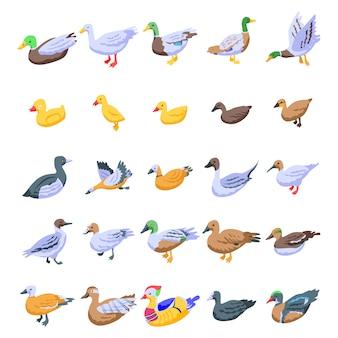 Conjunto de iconos de pato, estilo isométrico