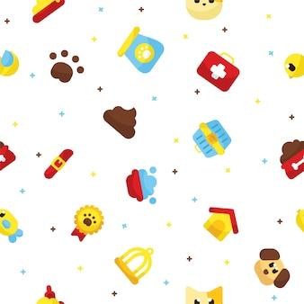 Conjunto de iconos de patrones sin fisuras de mascotas