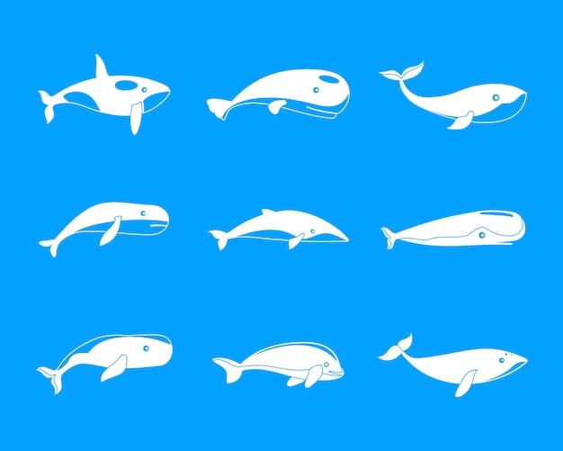 Conjunto de iconos de peces ballena azul cuento, estilo simple