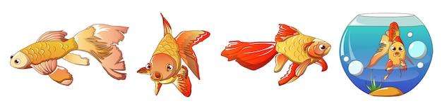 Conjunto de iconos de peces de colores, estilo de dibujos animados