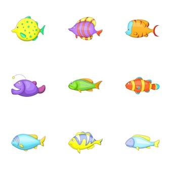 Conjunto de iconos de peces tropicales, estilo de dibujos animados