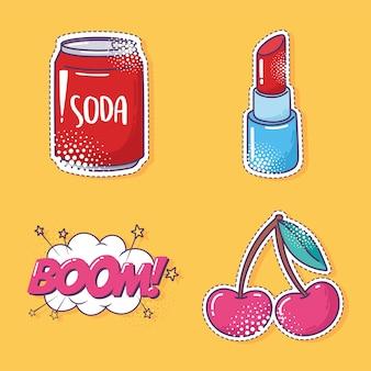 Conjunto de iconos de pegatina de elemento de arte pop, refresco, cereza, lápiz labial y boom