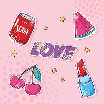Conjunto de iconos de pegatina de elemento de arte pop, refresco, sandía, cereza, lápiz labial