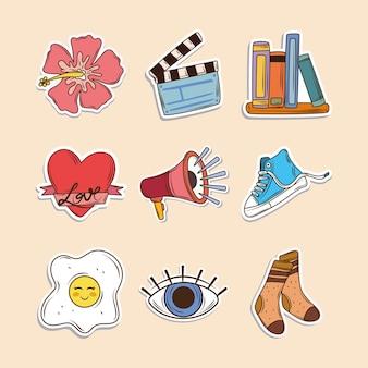 Conjunto de iconos de pegatinas