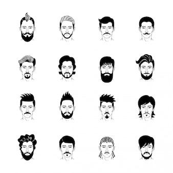Conjunto de iconos de peinado de hombre