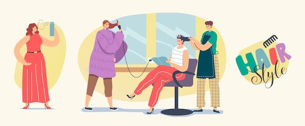 Conjunto de iconos de peinado. personajes femeninos visitan salón de belleza, hacen peinado en casa. espejo frontal de maestro joven poner rulos en la cabeza del cliente en el lugar de aseo. ilustración de vector de personas lineales
