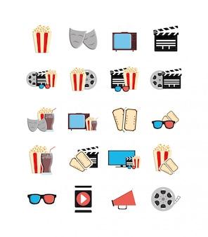 Conjunto de iconos de película aislada
