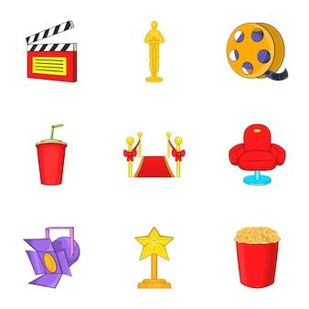 Conjunto de iconos de película, estilo de dibujos animados