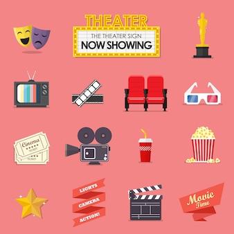 Conjunto de iconos de película y película
